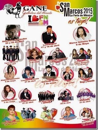 Venta de boletos palenque feria san marcos 2015 Cartelera de Artistas
