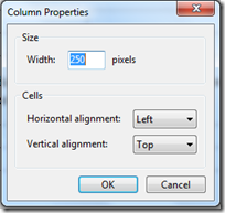 livewriter customize column properties