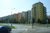 On the bus to Prague&#039;s Little Hanoi - the Soviet-era buildings have been painted with cheerful colors