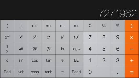Calculator, sideways