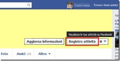 Facebook pulsante Registro attività nella copertina