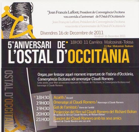 16 de decembre Occitan d'Ostal 5en aniversari