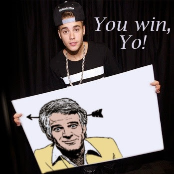 """I don't know who this guy is with the arrow through his head, but he won... so buy my new single..."" -J.Beiber"