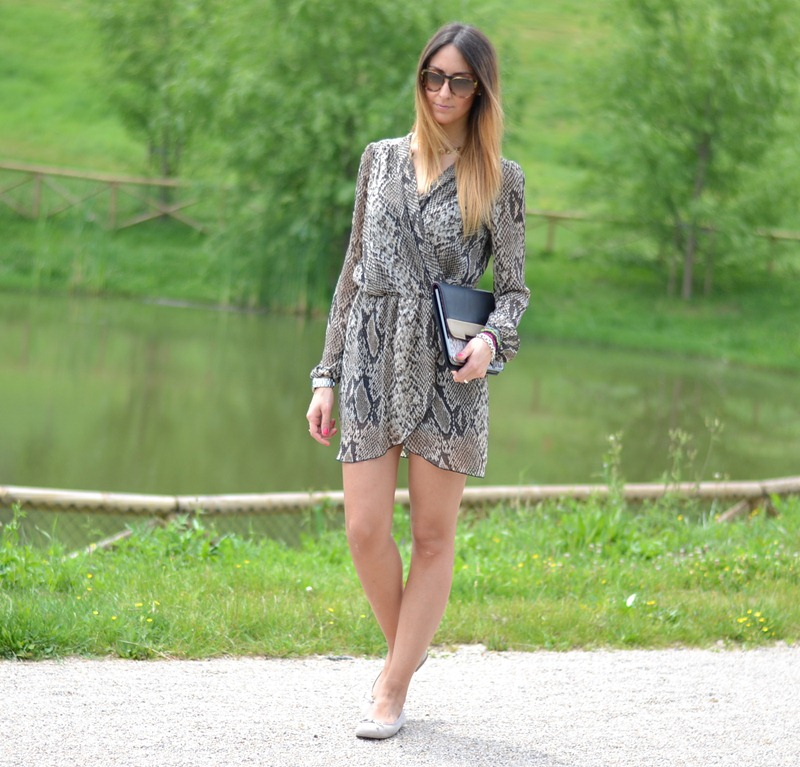 Python, InLoveWithFashion, Love Dress, Pretty Ballerinas, Stradivarius Clutch, Asos Watch, Oasa