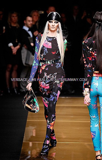 Versace H&M New York Runway Show Flora Jacket , leggings, handbag, Donatella Versace