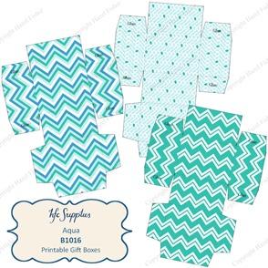 B1016 etsy 1 Aqua printable gift boxes chevron