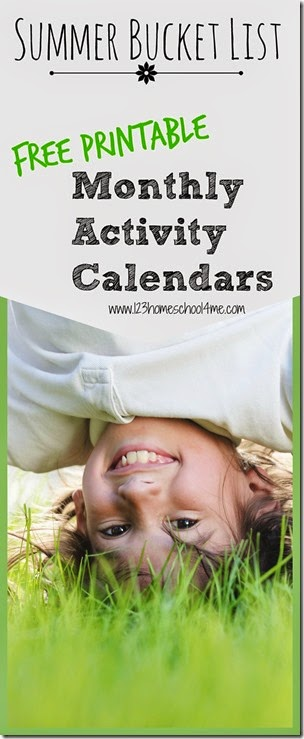monthly activity calendars