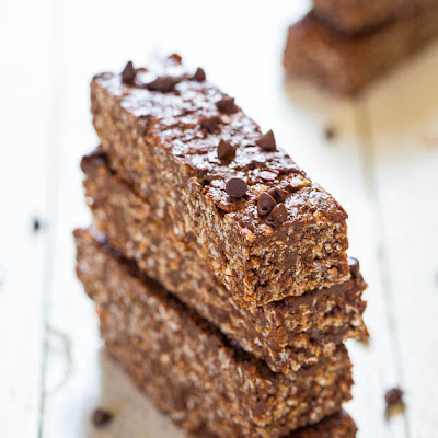 No-Bake Double Chocolate Peanut Butter Granola Bars (vegan, gluten-free)