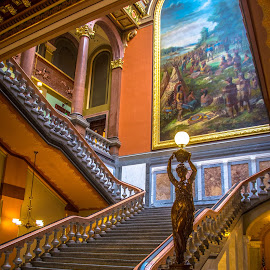 Artistic Stairs by Gary Hanson - Buildings & Architecture Public & Historical ( illinois state capital, illinois, stairway, colorful, staircase, .capital )