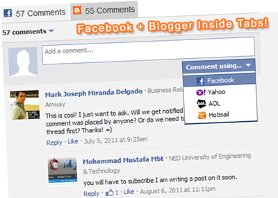 tabbed facebook comments