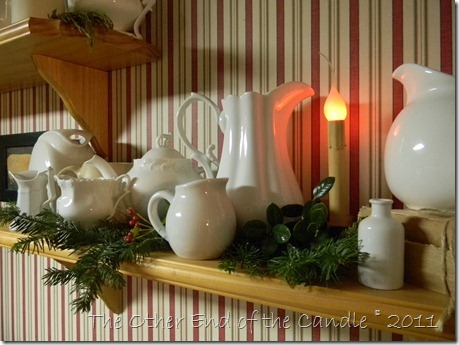 White Pitcher Collection with Christmas Greens