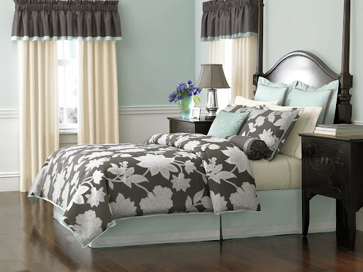 What mom wouldn't appreciate a brand new bedroom? I love the Martha Stewart Collection 24-piece room in a bag kit. Available at Macy's, it gives you everything you need to freshen a bedroom's look. This pattern is called Chantilly.  The color combination of charcoal, aqua and ivory is so calming.