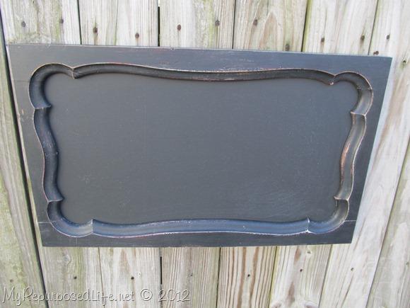 repurposed armoire door into chalkboard