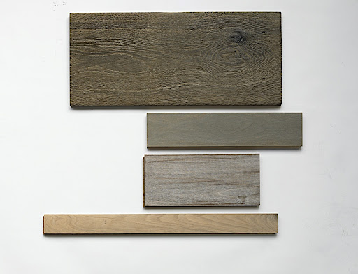 For hardwoods, I loved these samples (top to bottom) of European White Oak, Tudor Nostalgic with wax finish from Bois Chamois (boischamois.com), Ethereal Walnut, Chinchilla and Fables Walnut, Natural and White from T. Morton & Co. (tmorton.com) and Sterling Strip Winter White Oak from Bruce Hardwood (bruce.com)