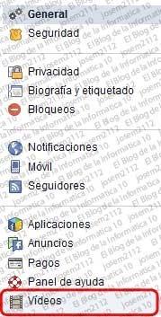 Reproducción automática de vídeos en Facebook - categorías configuración (vídeos)