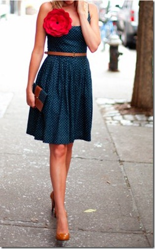 pinterest navy dress with red flower pin