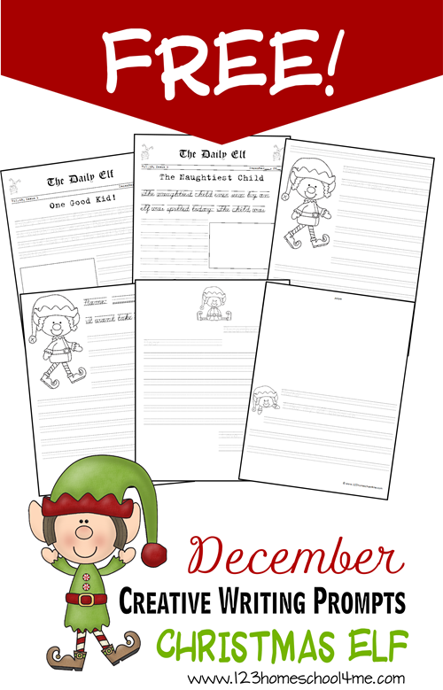 FREE December Creative Writng Prompts - Christmas Elf for kindergarten and elementary age kids