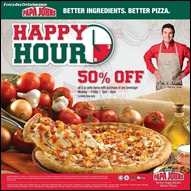 Papa John's Pizza Happy Hour Promotion 2013 All Shopping Discounts Savings Offer EverydayOnSales