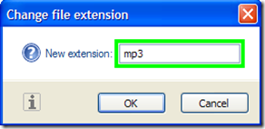 Change File Extension digitare nuova estensione