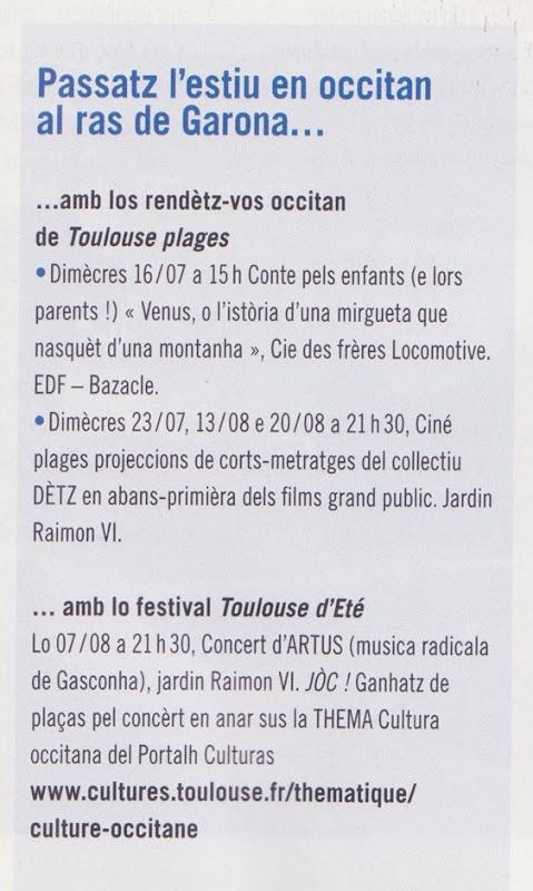 Tolosa Garona l'occitan i serà en 2014