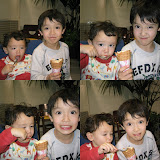 Eidan and Kai sharing an ice cream in the Megaweb cafe