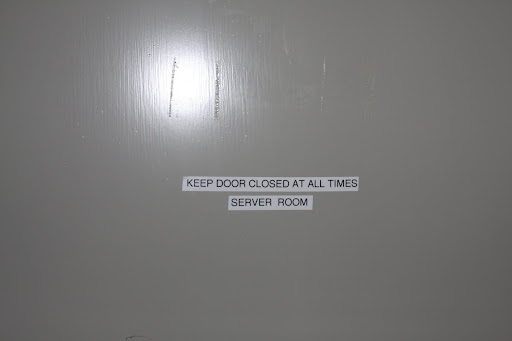 This is the door to the server room and it needs to be kept closed.  The AC is on to keep the room cool because of all the sensitive equipment in there.