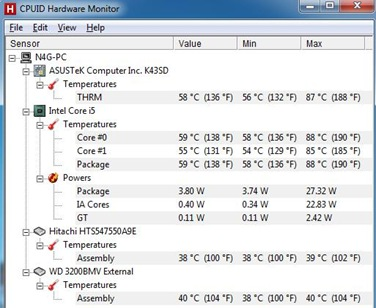 ASUS A43SD-VX303D temperature