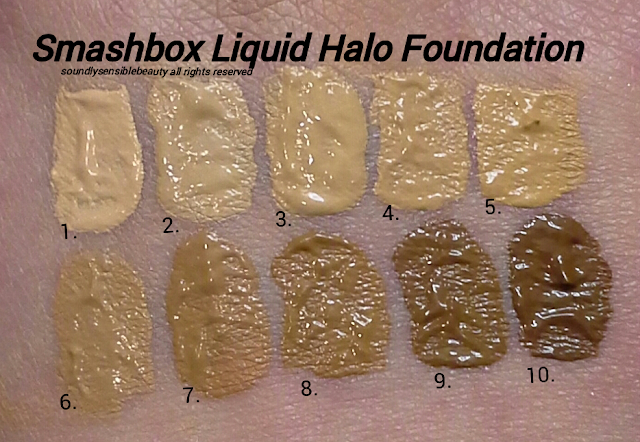 Liquid Halo High Definition Foundation Swatches of Shades #1, #2, #3, #4, #5, #6, #7, #8, #9, #10