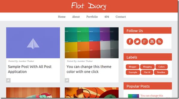 flat diary premium blogger template