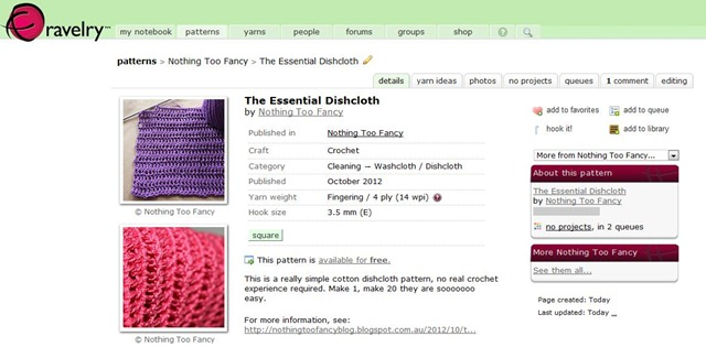 Ravelry screen shot
