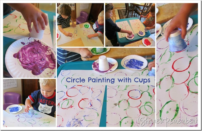 circle painting with cups in preschool