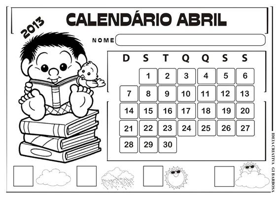 calendário abril 2013 turma da mônica chico bento
