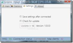برنامج Connectme 1.0.0.0لتحويل اللابتوب الى راوتر وايرليس - صفحة الإعدادات
