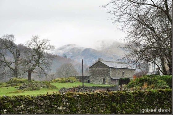 View of mountains from Borrans Park, Ambleside, Lake District