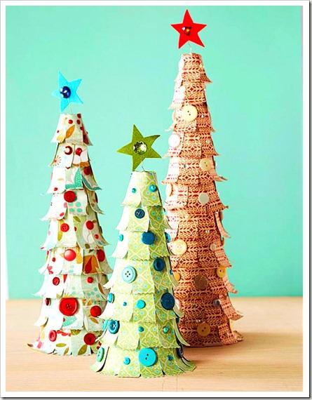 árbol de navidad con recortes de papel