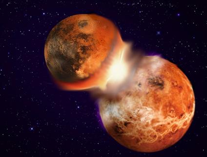ilustração da colisão que formou a Terra e a Lua