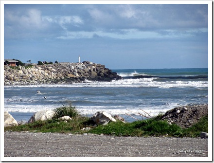 North side of the Greymouth harbour entrance.