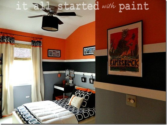 Teen Boy Bedroom In Orange Gray Black