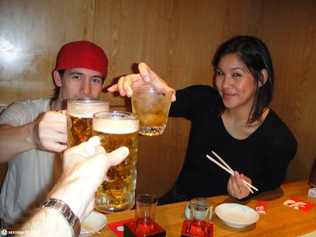 cheersing with my Dutch friends in Shinjuku in Kabukicho, Tokyo, Japan
