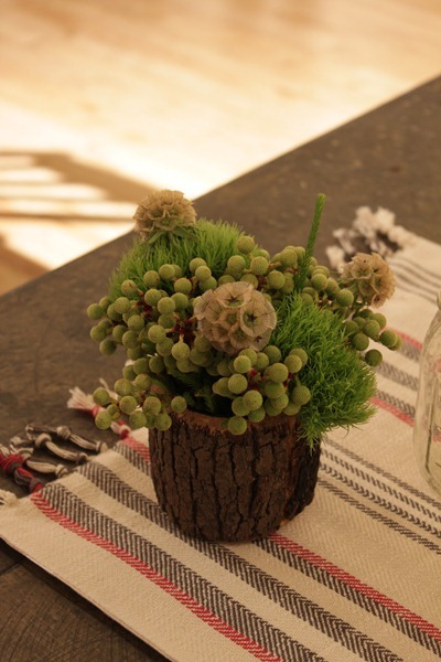 Hello Darling - Organic   Vintage Sports Bar Mitzvah, bark and textural arrangement