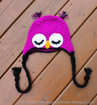 vibrant purple owl hat