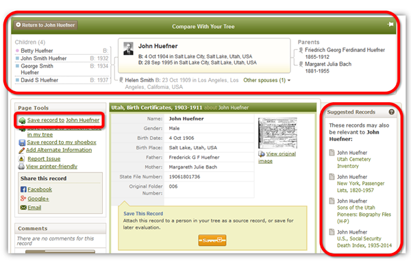 Ancestry.com utilizes information about a person when you search from your tree. They also show suggested records based on the behavior of others researching that record.