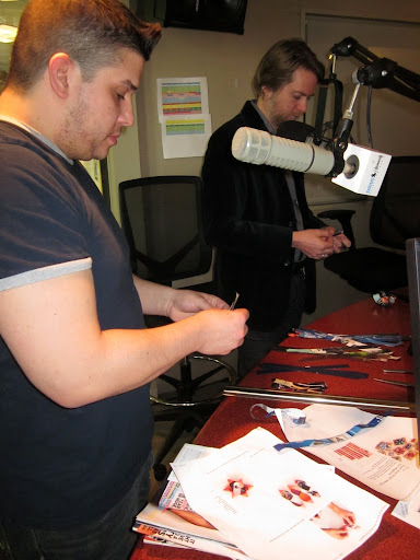 Steve and Scott worked hard to make their bows in studio.