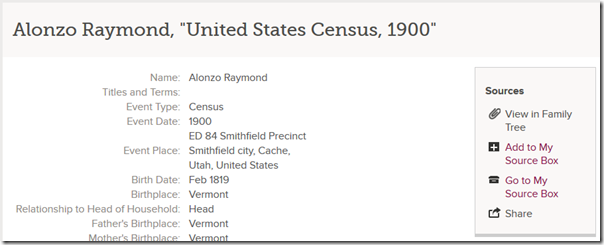 Link to view person in family tree to which the record is attached