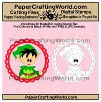 christmas elf medallion papered ds200