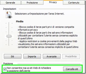 Disattivare geo localizzazione su Internet Explorer