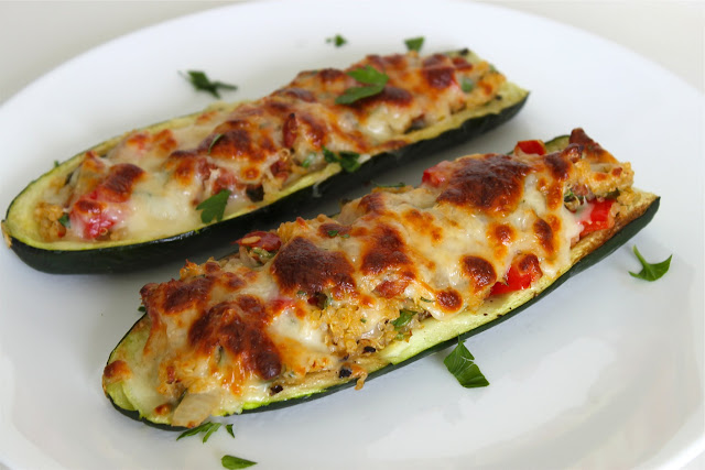 Chorizo + Quinoa {Stuffed} Zucchini