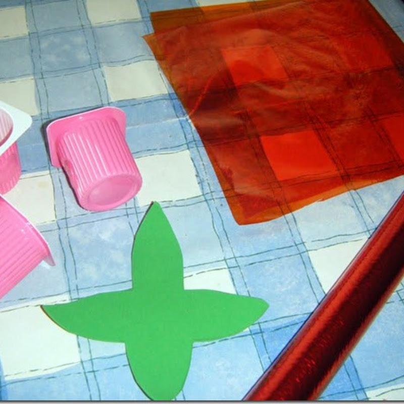 Manualidades rosa reciclados para Sant Jordi