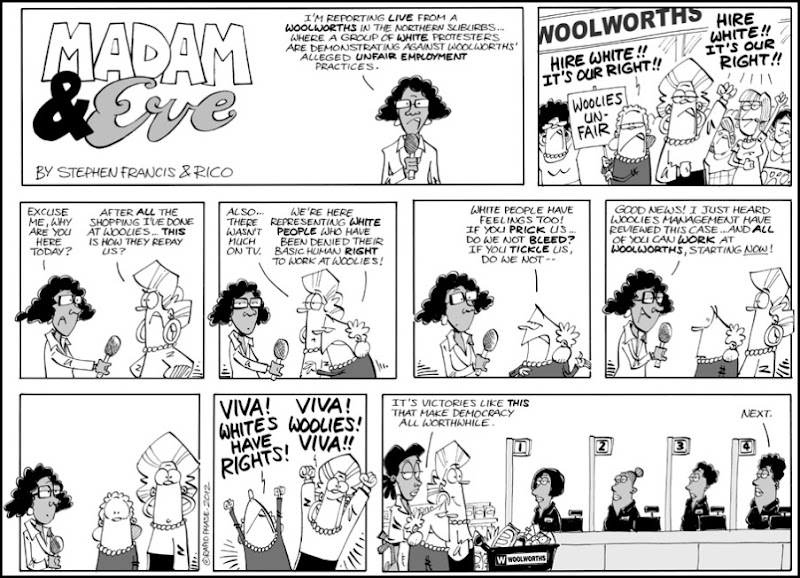 WOOLWORTHS BOYCOT MADAM AND EVE CARTOON