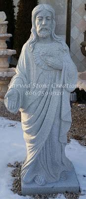 Carved Granite Statue of Jesus H63
